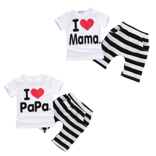 2PCS Toddler Baby Girl Boy T-shirt Tee+Striped Pants Shorts Outfits Kids Cute Comfortable Short Sleeve Clothes
