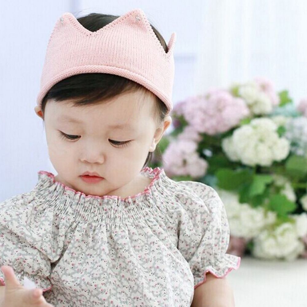 1 PC Beautiful Cute Girls Headwear Crown Shape Crochet Knitted Headband Hair Band Accessories Hat Photography Props 5 colors