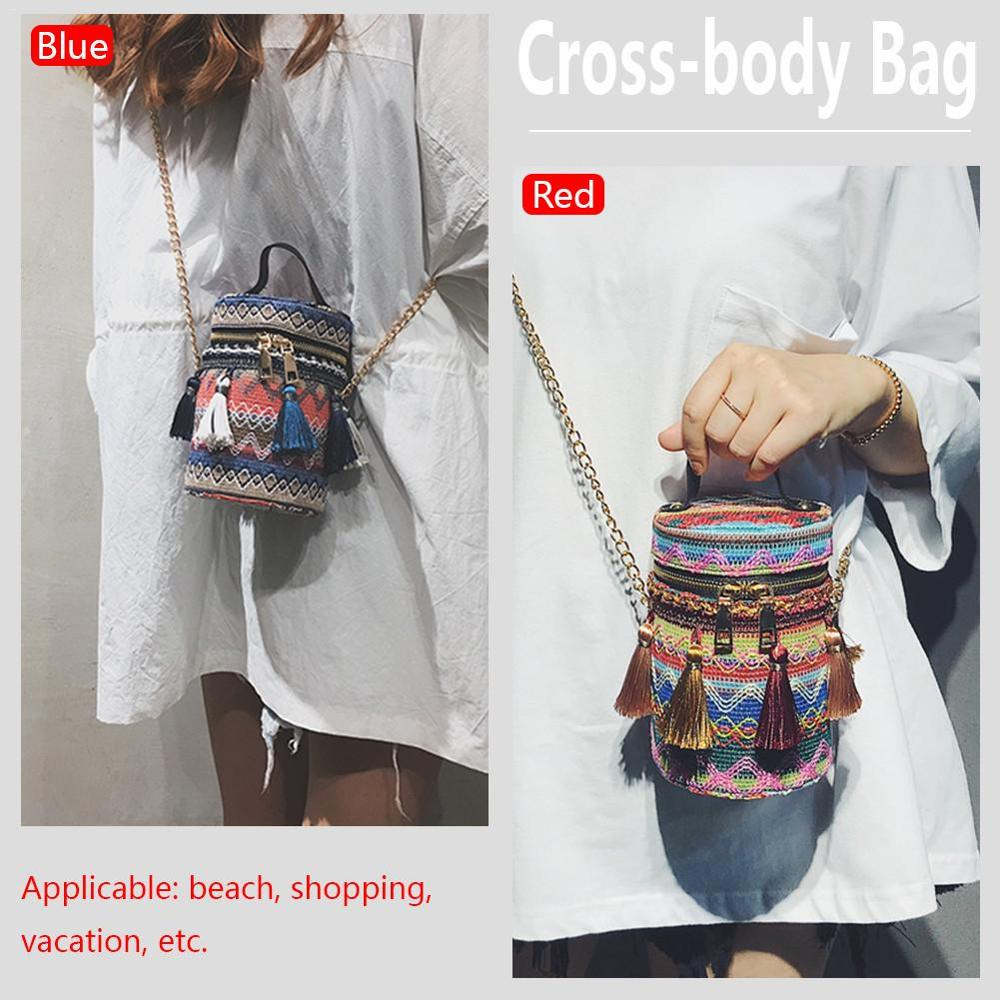 Weaving Woven Shoulder Messenger Bag National Ethnic Style Small Round Bucket Beach Tassel Fashion Straw Crossbody Bag For Women in Top Handle Bags from Luggage Bags