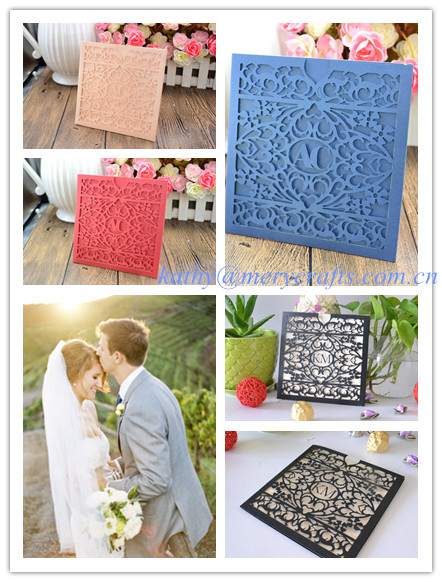 Pocket Fold Laser Cut Wedding Invitations Black Envelops China Mainland