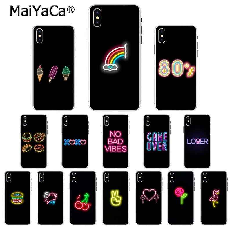 MaiYaCa Black background fluorescent small pattern font neon Phone Case Cover for iPhone X XS MAX 6 6S 7 7plus 8 8Plus 5 5S XR
