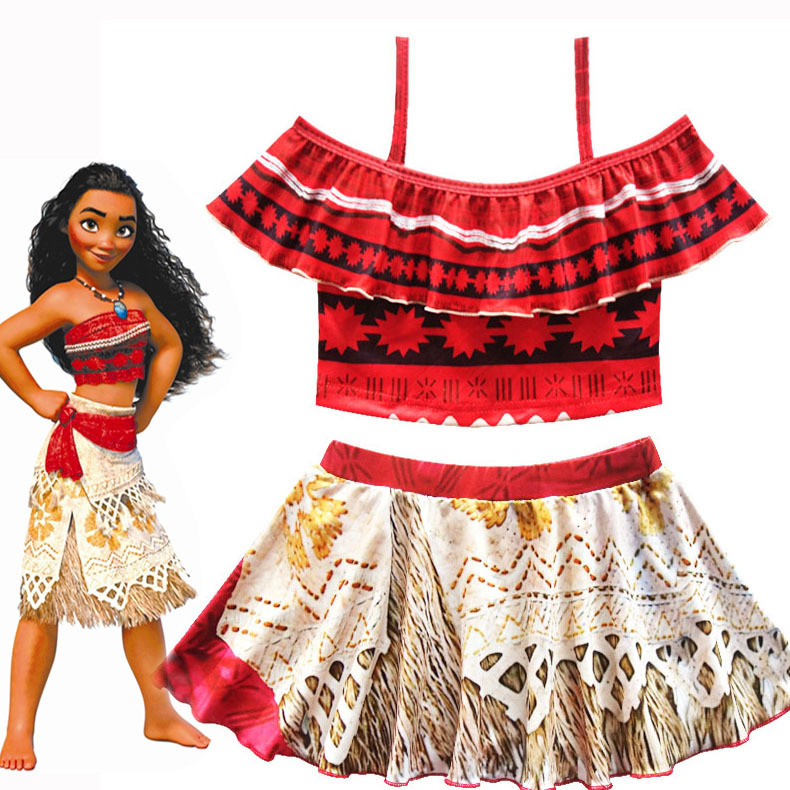 2018 Summer Gril Princess Moana Off shoulder Swim Dress Kids moana Swimwear Costume with skirt free shipping