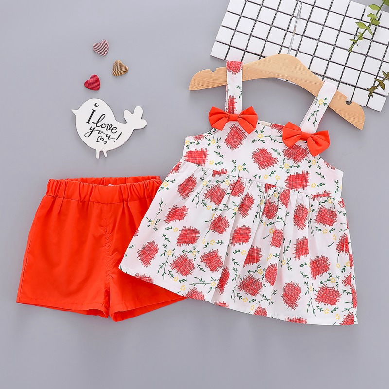 Summer Children Baby Girls Casual Clothes Sleeveless Strap Tops Floral Print T shirt Shorts Suits Costume Set in Clothing Sets from Mother Kids
