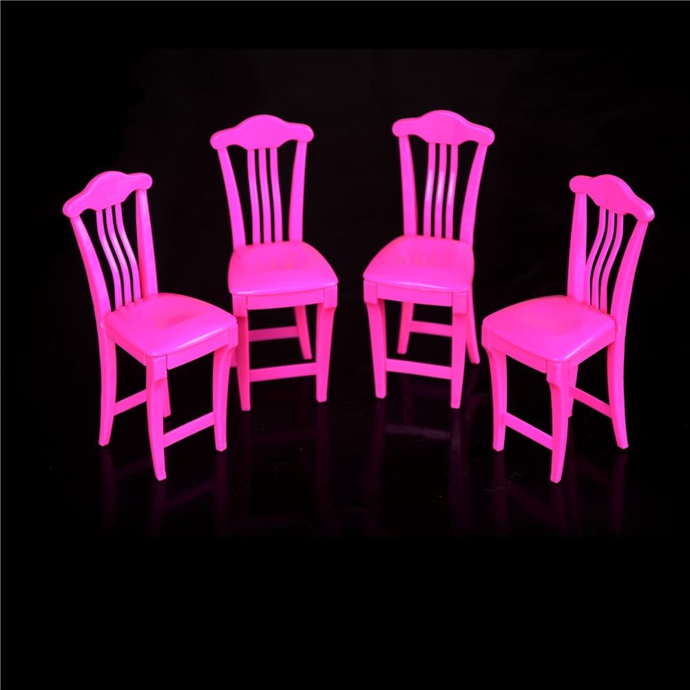 4pcs Dollhouse Plastic High Chair Play
