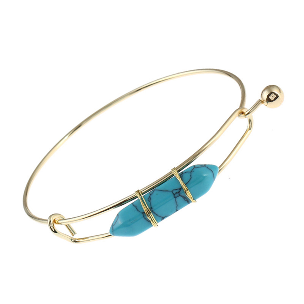 Fashion Simple Natural Stone Alloy Bangle Women Cuff Bracelet Jewelry Gift