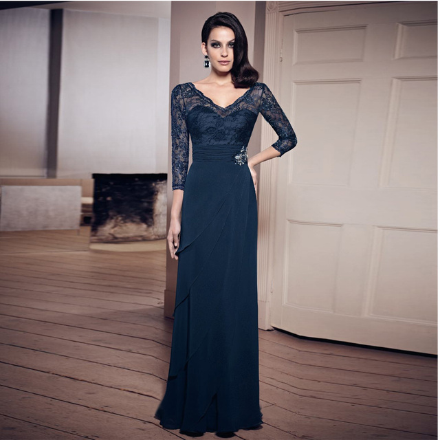 Hot Fashion Mother Of The Bride Dresses V Neck Navy Blue Floor Length Lace 2017 Plus