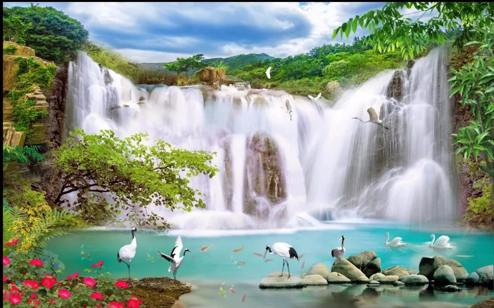 Us 1225 57 Offmodern Wallpaper Waterfall Landscape Wallpaper For Living Room Hd Nature Landscape 3d Wallpaper Painting Papel De Parede In