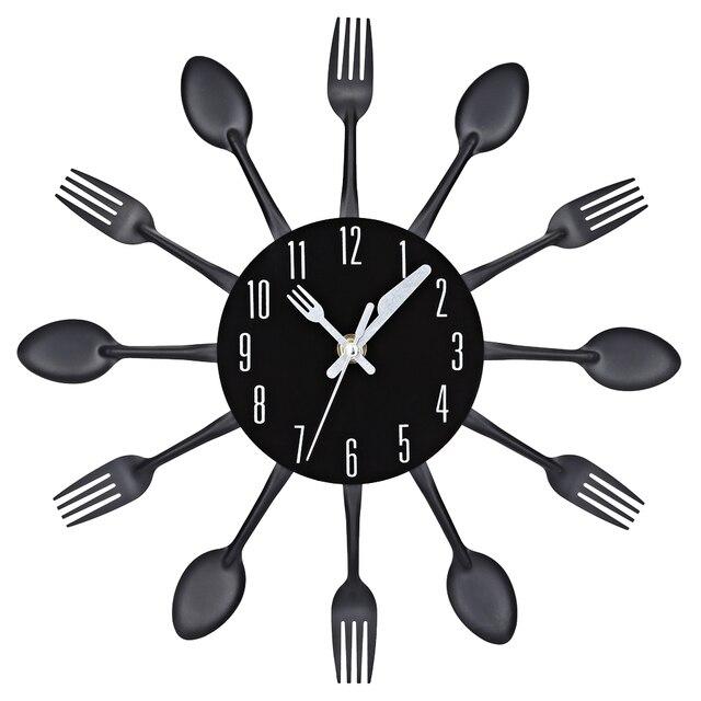 2017 3D Настенные Часы Из Нержавеющей Стали Нож, Вилка Современный Дизайн Большой кухня Настенные Часы Часы Кварцевые Для Домашнего Офиса Декор 4 Цвет