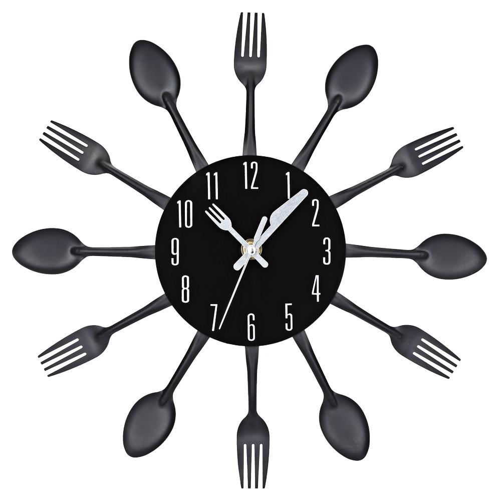 2017 3d orologio da parete coltello in acciaio inox forchetta design moderno grande cucina da parete