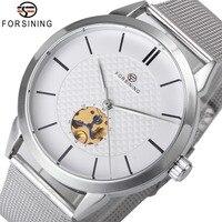 Nowe zegarki mechaniczne dla mężczyzn Ultra cienka minimalistyczny projekt szkielet Dial ze stali nierdzewnej siateczkowy pasek zegarek na rękę top na co dzień luksusowe w Zegarki mechaniczne od Zegarki na