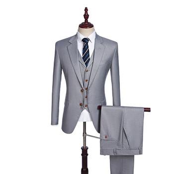 Men's suit men's high-quality suit three-piece suit (jacket + pants + vest) men's business office official professional wear sup