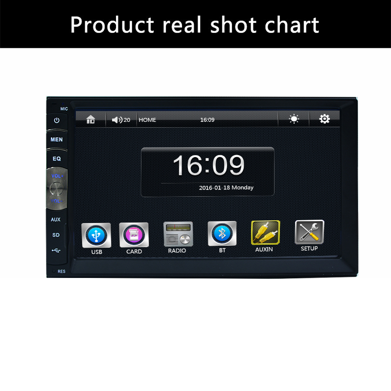 2 din 7 inch  player Bluetooth Handsfree Rearview after Touch screen hd system Radio BT(No DVD NO GPS) Car Electron free shipping new black 4 3 inch hd touch screen rearview mirror abs car gps navigation navigator bluetooth 2 0 8gb au map tk102