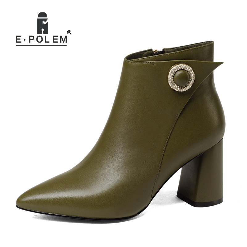 Female Genuine Cow Leather Boots High Heel Female Side Zip Short Boots Women Pointed Toe Ankle Boots Warm Velvet Booties warm velvet martin boot female leather boots high heel genuine leather side zip ankle boots women patchwork round toe short boot