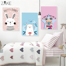 Cartoon Nordic Rabbit Polar Bear Canvas Painting Art Posters and Prints Picture Wall Baby Room Children Bedroom Home Decoration