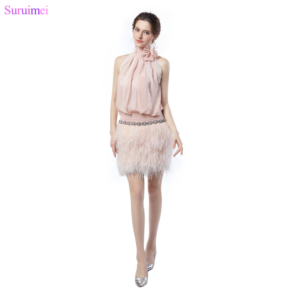 Exquisite Unique Design Short Blush Pink   Prom     Dresses   with High Quality Feathers O Neck Luxurious Girls   Prom   Gown