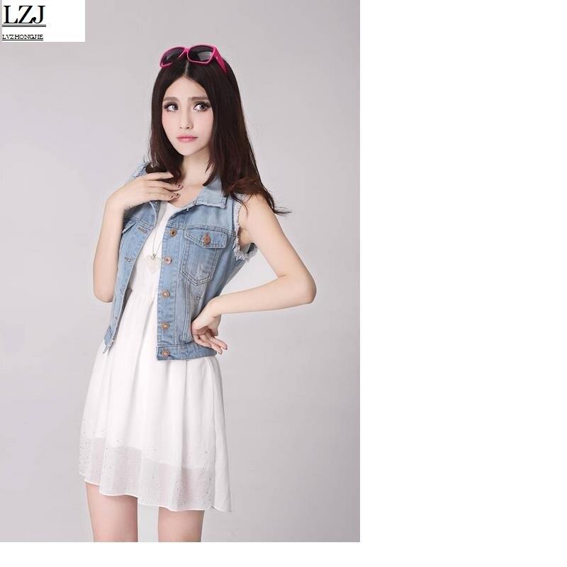 LZJ Spring Denim Vest Women Casual Colete Coat Vintage Cardigan Jean - Abbigliamento donna