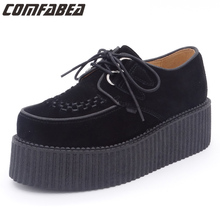 Branded Top Quality women creepers genuine leather or flock cloth shoes nubuck leather platform black shoes