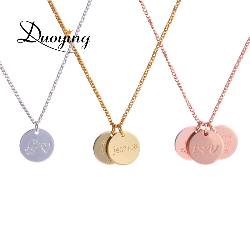 duoying 12 12 mm disc necklaces custom baby name necklace. Black Bedroom Furniture Sets. Home Design Ideas