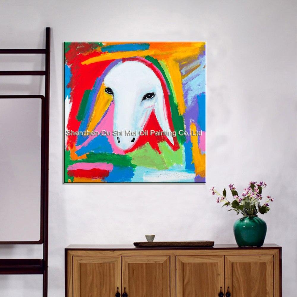 Obrazy imitujące Menashe Kadishman Ręcznie malowane na wystrój - Wystrój domu - Zdjęcie 2