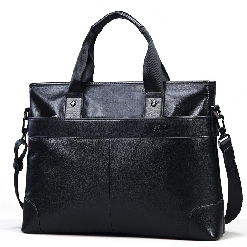 GSQ Genuine Leather Men Handbag Classic High Quality Leather Bag Business Men Bag 14inch Laptop Briefcase Messenger Bag G168-1 new high quality leather men laptop briefcase bag 14 inch computer bags handbag business bag fashion laptop handbag for men