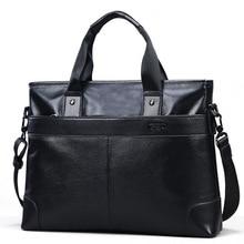 GSQ Genuine Leather Men Handbag Classic High Quality Leather Bag Business Men Bag 14inch Laptop Briefcase Messenger Bag G168-1