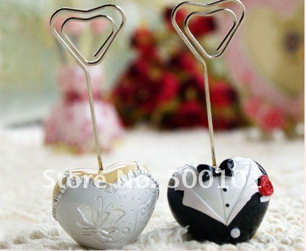 100pcs/lot wedding favor gift party decoration Bride and groom place card/photo holder Free Shipping