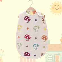 40 * 60cm Cotton 3 Layers Gaze Baby Child Sleeping Bag Børn Ank Kick Champignon Mønster Sovesofaer 4 Seasons Vest Sleepwear
