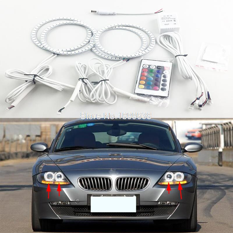 4 stücke Super helle 7 farbe RGB LED Angel Eyes Kit mit eine fernbedienung auto styling für BMW Z4 e85 2002-2008 SCHEINWERFER
