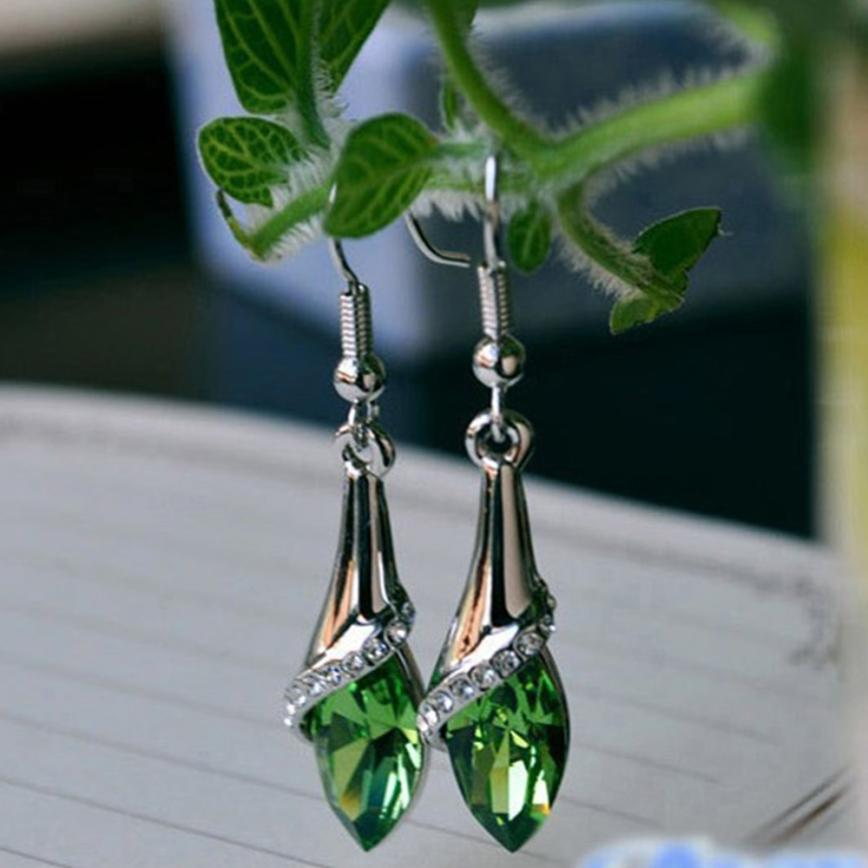 Costume Fashion Clip Earrings Pendant Green Crystal Gift Wedding Events J2