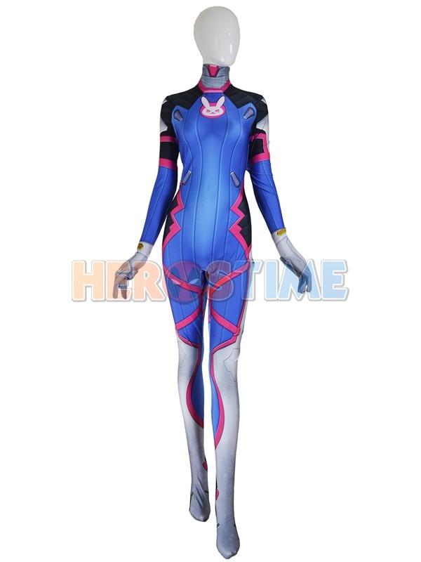 D VA Costume Lycra Spandex Digital Print D.VA Bodysuit For Female/Women/Girls/Lady Halloween Cosplay Zentai Suit Free Shipping