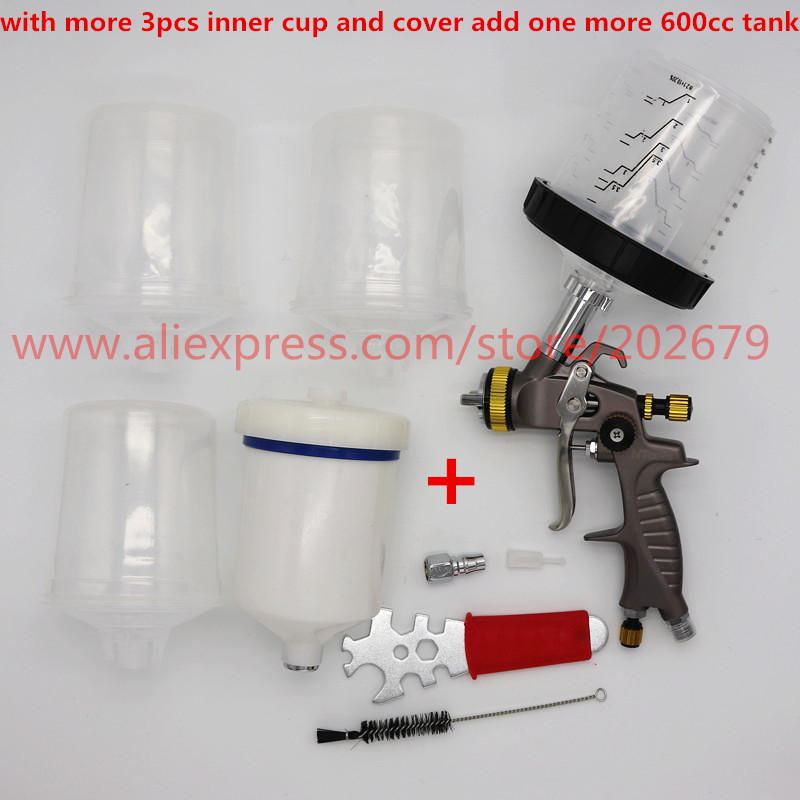 PPS No wash cup spray gun 1 3mm gravity feed type adapter pot paint gun 600ml