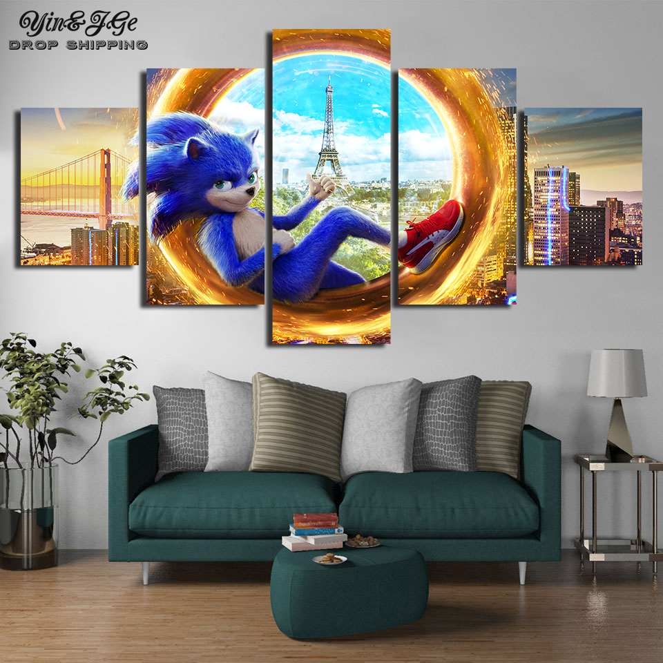 Canvas Prints Painting 5 Pieces Sonic The Hedgehog Movie Poster Wall Art Living Room Modular Super Sonic Picture Home Decoration Painting Calligraphy Aliexpress