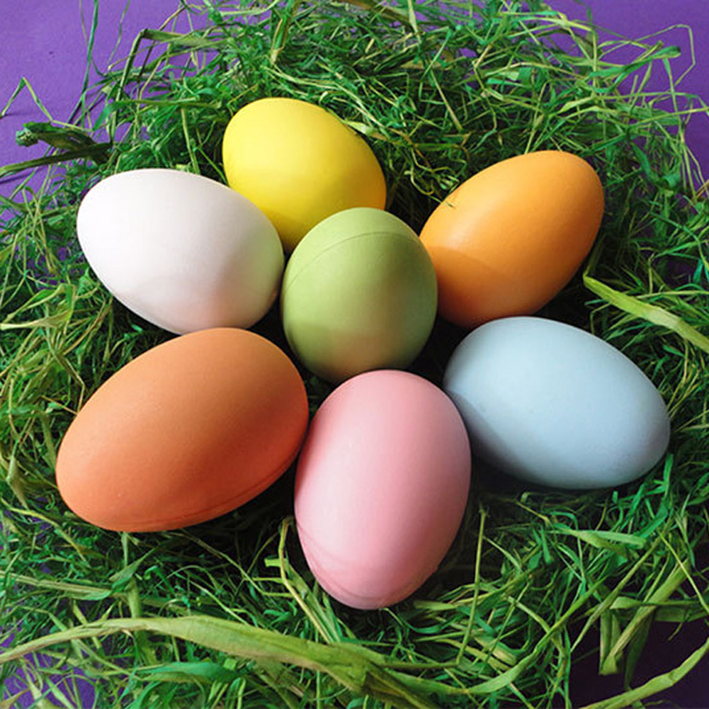 2017 Color Random DIY Easter Eggs Plastic Bright Egg Child Painted Eggshell Plastic Painted DIY Easter Egg Toys