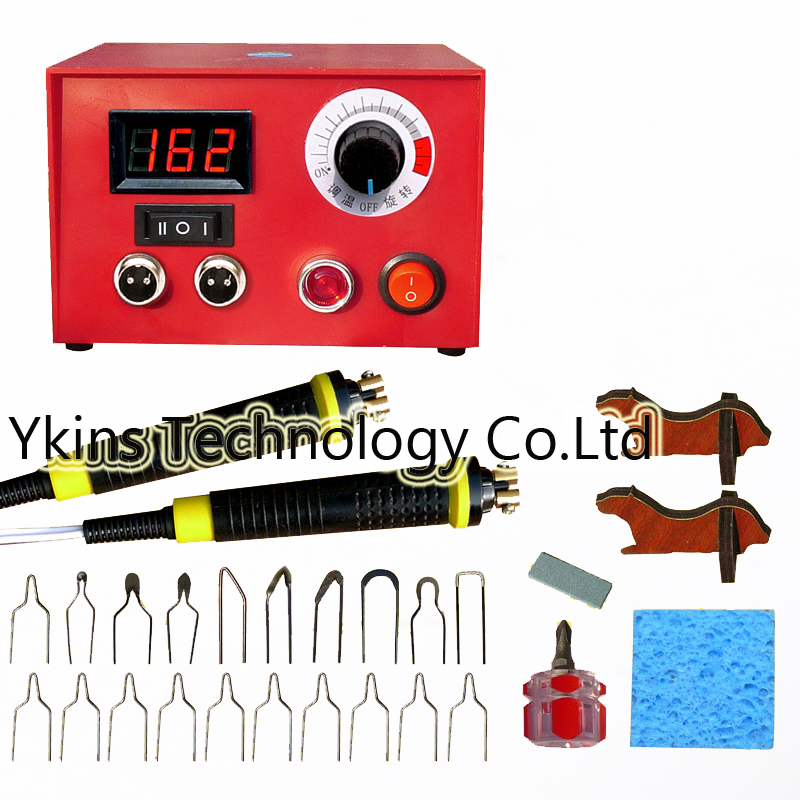 100W digital temperature Multifunction gourd pyrography machine+20pcs Pyrography iron Tips +2 Cutter pens Wooden gourd crafts|pyrography machine|pyrography iron|wood craft machine - title=