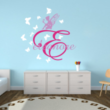Custom Name Fairy Flower Butterfly Wall Decal Girl Room Kids Personalized Tale Nature Animal Sticker Vinyl