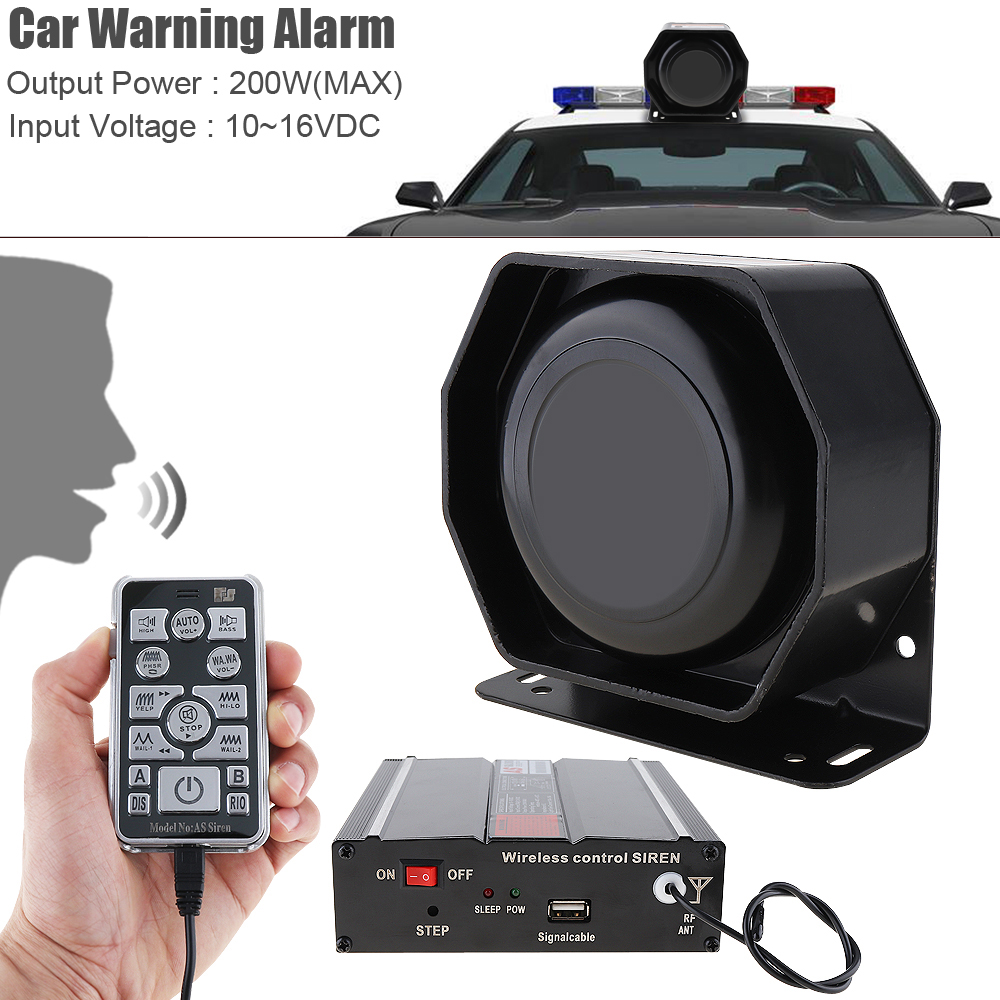12 V 200 W 18 tons fort alarme de voiture sirène de Police klaxon PA haut-parleur avec système de micro et télécommande sans fil