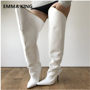 2019 Fashion White Thigh High Boots Women Pointed Toe Overknee Long Boots Women Sexy Lady Thin High Heel Shoes Woman Party Dress