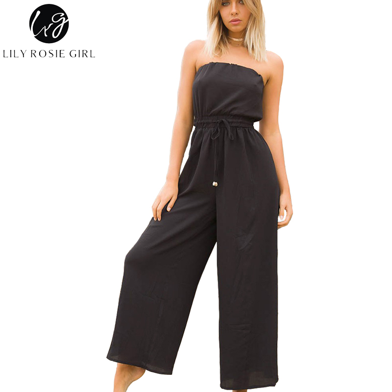 Lily Rosie Girl Sexy Off Shoulder Black   Jumpsuits   Women Backless Sashes Long Pants Playsuits Beach Party Casual Rompers Overalls