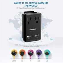 TESSAN Viagem Wall Mount Power Strip EUA para o REINO UNIDO/AU/eu/Itália/GM Plug Portas USB & NOS Pontos de Venda Com 5 Adaptadores Internacionais