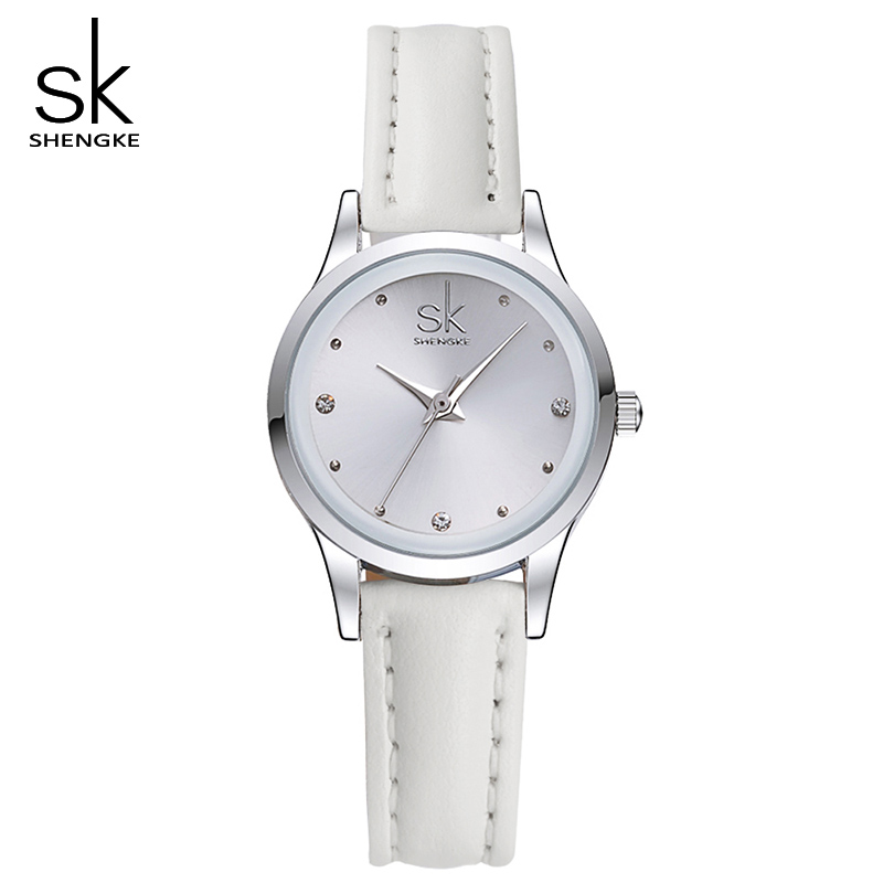 SK New Casual Ladies Watch White Leather Band Stainless Steel Shell Clock Women Fashion Dress Rhinestones Quartz Wristwatch 2017 46pcs 1 4 inch socket set car repair tool ratchet torque wrench combo tools kit auto repairing gator grip wrenches hand tools