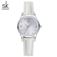 Sk new casual ladies watch white leather band stainless steel shell clock women fashion dress rhinestones.jpg 200x200