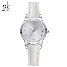 SK New Casual Ladies Watch White Leather Band Stainless Steel Shell Clock Women Fashion Dress Rhinestones Quartz Wristwatch 2017