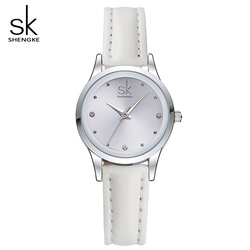 Sk new casual ladies watch white leather band stainless steel shell clock women fashion dress rhinestones.jpg 250x250
