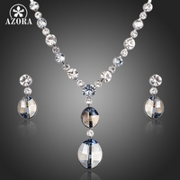 AZORA Simple Design Ellipse Stellux Austrian Crystal Pendant Necklace And Drop Earrings Jewelry Sets TG0154