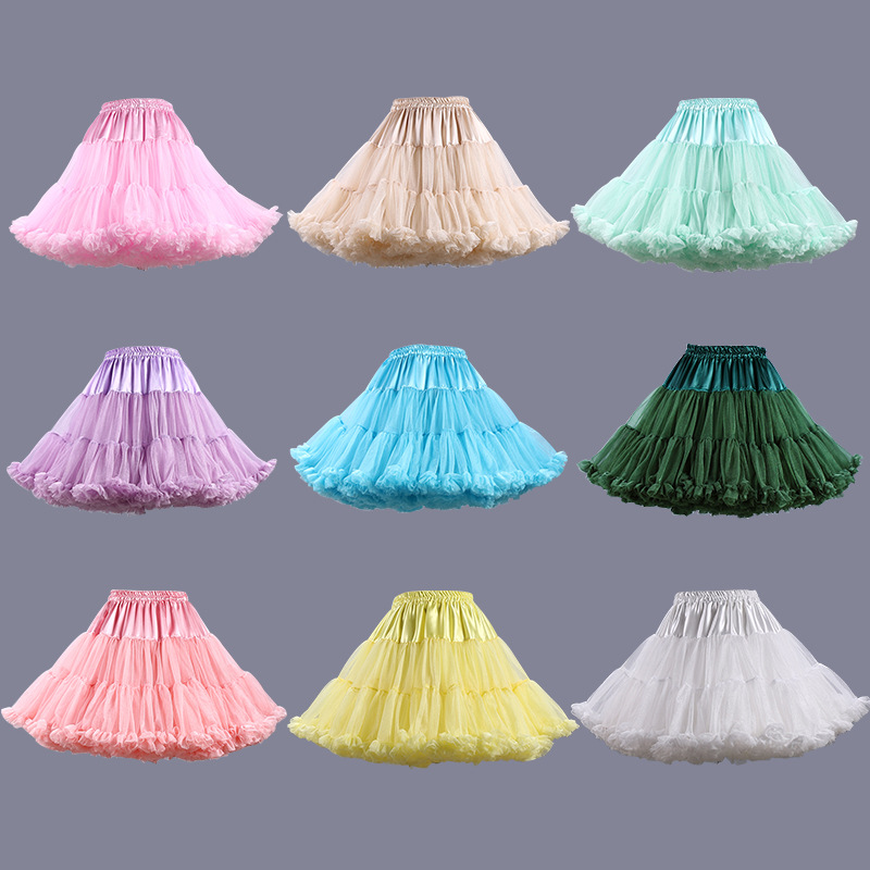 FOLOBE Alta calidad Barato 40cm Vestido de fiesta de cintura alta Tulle Tutu Faldas Mini Faldas Ballet Dancewear Adulto TT004