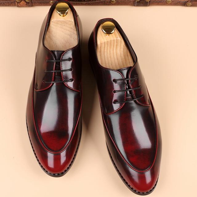 מכירה לוהטת עור שחור חום גברים דירות נעליים, יד תפירה גברים אוקספורד Zapatos Hombres, טרנדי גברים עור נעליים