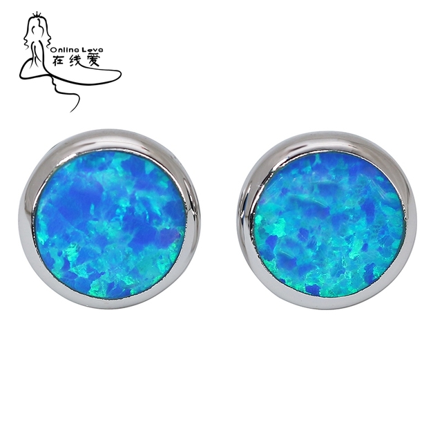 Top Trendy Blue Opal Gem Cute Round Stud Earrings Timeless Fashion Jewelry For Women Brand