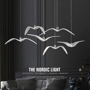 Image 3 - Nordic lampada a sospensione Gabbiano Disegno Lampadari Led Per Bar/Cucina Birds Lampadario A Soffitto Corpo Illuminante Luce Apparecchio