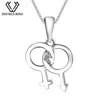 DOUBLE-R $ number ct Diamante Genuino Clave Collares y Colgantes Colgantes 925 de Plata Esterlina Clásico Marca de Joyería fina para Las Mujeres