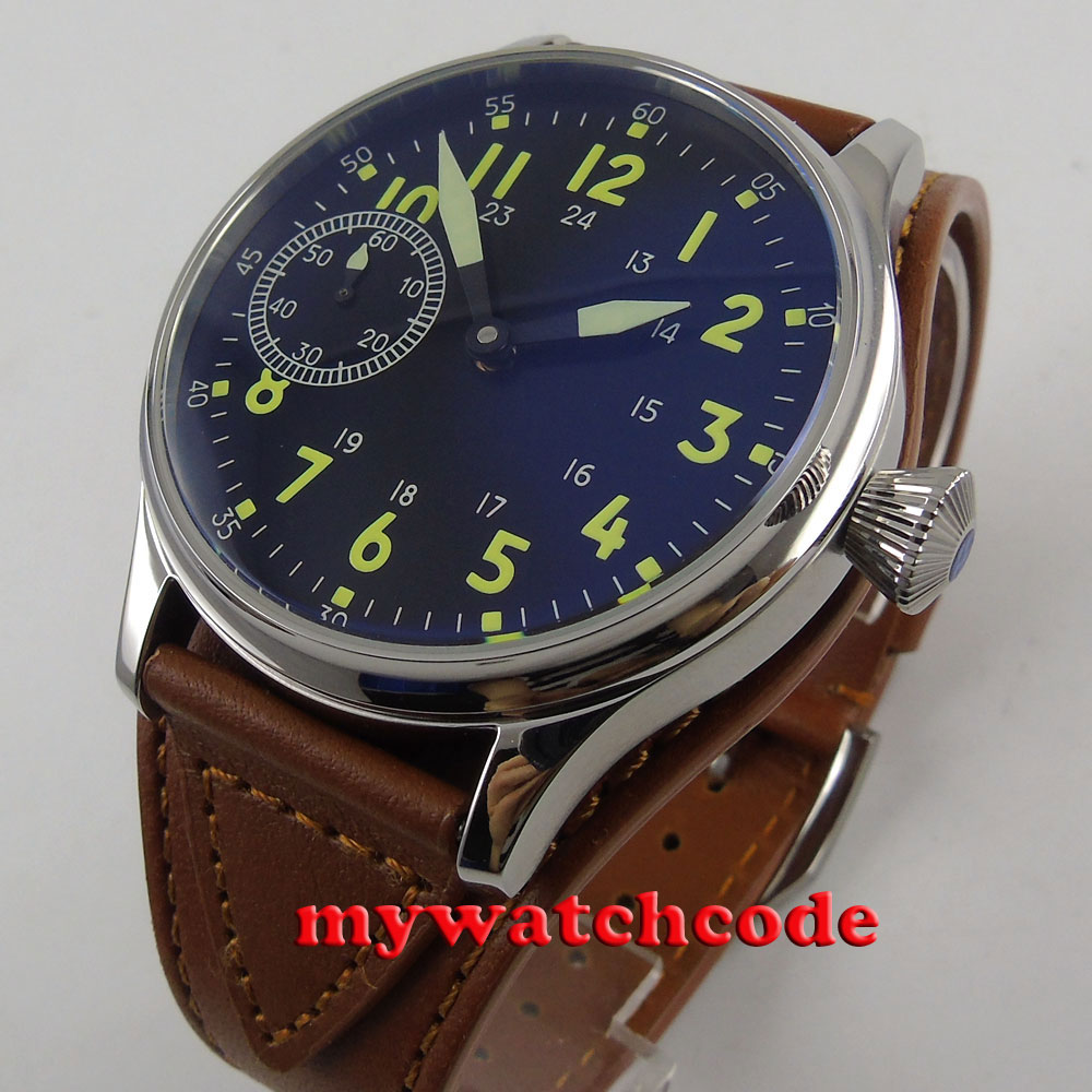 44mm Corgeut sterile black dial leather strap 6497 hand winding mens watch P56 44mm black sterile dial green marks relojes 6497 mens mechanical hand winding watch luminous armbanduhr cm164bk